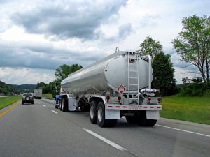 big fuel gas tanker truck on highway