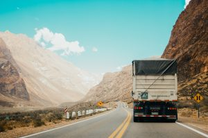 Flatbed truck shifting Cargo